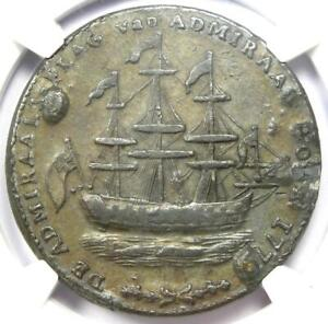 1779 Rhode Island Pewter Ship Token with Wreath - NGC XF45 (EF45) - $7,000 Value
