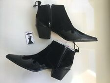 Zara Split Suede Cowboy Heel Ankle Boots Black UK 7 Size EU 40