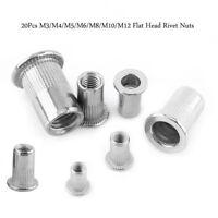 20Pcs M3/M4/M5/M6/M8/M10/M12 Écrou de rivet fileté à tête plate SS304