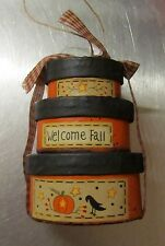 """Primitive Country Mini Oval Nesting Boxes Welcome Fall (can be ornament) 3 x 4"""""""