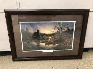 "TERRY REDLIN CUSTOM FRAMED / MATTED ""Morning solitude""  B11"