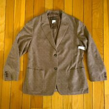 LORO PIANA Italy Womens 100% Cashmere Tweed Woven Blazer Jacket Size 50 14 Brown