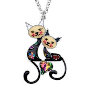 BONSNY Cat Necklace Jewellery Pendant Crystal Heart Enamel Charm Women Girls