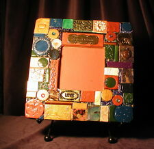 """CIRCLE of FRIENDS mosaic tile frame, handmade 8"""" lovely, 1 of a kind, FREE SHIP!"""