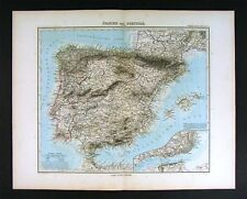 1890 Stieler Map - Spain Portugal Gibraltar Lisboa Plan