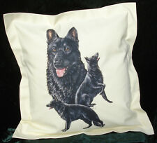 Hand Crafted Black German Shepherd dogs cushion cover