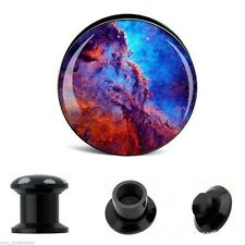 """PAIR-Outer Space Odyssey Acrylic Screw On Stash Plugs 25mm/1"""" Gauge Body Jewelry"""