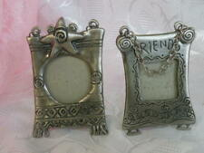 Lot 2 Southwestern Style Small Silver Tone Metal Picture Frame attached Chain