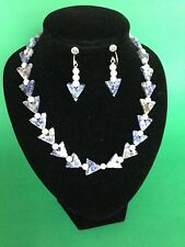 Sodalite v shaped beaded necklace and earring set with sterling silver
