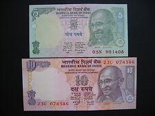INDIA  5 + 10 Rupees  (P88Ab + P89e)  UNC