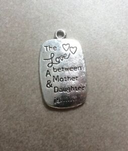 """Antique Silver, """"Love Between A Mother and Daughter"""" Pendant 34x20mm"""