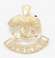 14k Yellow Gold Pisces Charm Necklace Pendant