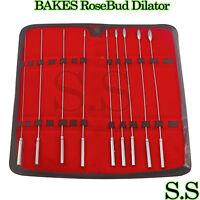 BAKES RoseBud Urethral Sounds Dilator 9 pcs Set Surgical Stainless Steel