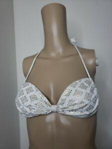 Abercrombie & Fitch Women's Bikini Top Size Medium White Gold Accents Swim Wear