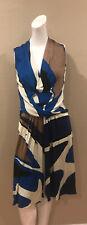 "Signed ""ISSA"" LONDON Silk Jersey Dress UK12 US 8 Blue, Brown & Black"