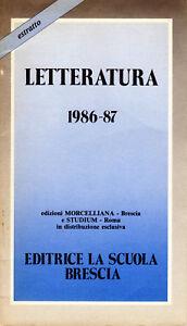 estratto catalogo libri LETTERATURA 1986 -Editrice La scuola Morcellana Brescia