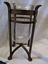 "VINTAGE Cast Iron 15"" FOOTED Candle Stand & LARGE 12"" HURRICANE GLOBE Rustic"