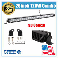 "25inch 120W Flood Spot Led Work Single Row Light Bar Offroad Roof Truck 20"" 30"""