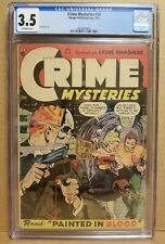 CRIME MYSTERIES #14 CGC 3.5 CLASSIC CRIME & HORROR SKULL MASK COVER RIBAGE 1954
