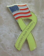 SUPPORT OUR TROOPS YELLOW RIBBON AMERICA USA LAPEL PIN BADGE (MB-15)