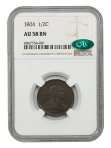 1804 1/2c NGC/CAC AU58 BN (Cross. 4, Stems) - Early Half Cent Type Coin
