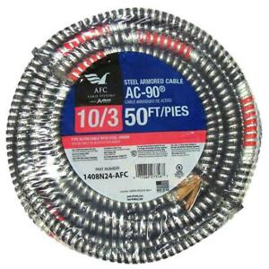 Armored Electrical Cable 50-Ft. 3-Conductors Copper Flame Retardant Grounded