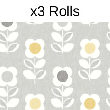 x3 Rolls Arthouse Retro House Floral Grey Yellow Wallpaper Feature Flower Motif