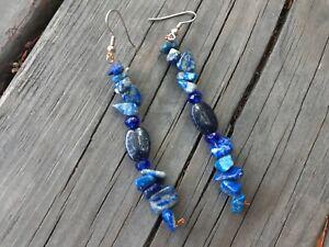 Handmade Blue Goldstone & Lapis Lazuli Stone Bead Drop Earrings