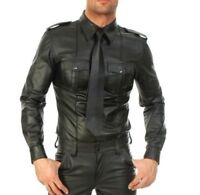MEN'S REAL BLACK LEATHER POLICE MILITARY STYLE SHIRT BLUF FULL SLEEVES