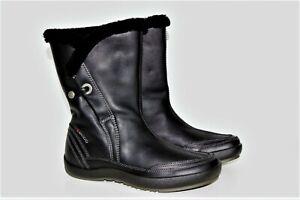 Ecco warme Stiefel Schlupf-Stiefelette  Boots Gr.42 Echtleder Wolle Neuwertig