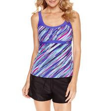 Zeroxposur Stripe Tankini Swimsuit Top Size 8, 10, 16 Msrp $48 Tanzanite