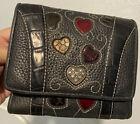BRIGHTON FRESCA Colored HEARTS Purse WALLET Organizer small pebbled leather guc