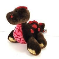 "Valentine Day Brown Red Dinosaur Heart Plush Stuffed Animal 9"" L Ganz"