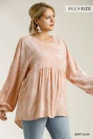 Umgee Tie Dye Ruffled Cuffed Long Sleeve Tunic Top Plus Size XL 1XL 2XL
