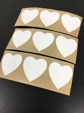 """100 Heart Shaped Stickers 1 3/8"""" Labels Wedding Craft White ScrapBook"""