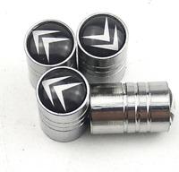 4 Ventilkappen Citroen, Chrom, Metall, für Autoreifen, Performance