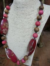 Long Chunky Wood Bead Statement Necklace Unusual Boho Red Floral Pink Brown