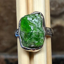 Genuine Russian Green Diopside 925 Solid Sterling Silver Cluster Bezel Ring 5.25