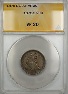 1875-S Seated Liberty Silver 20c Coin ANACS VF-20 PRX