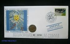 """Russia - """"CHERNOBYL NEVER AGAIN ~ ENVIRONMENT"""" UNESCO Medal Cover 1991"""