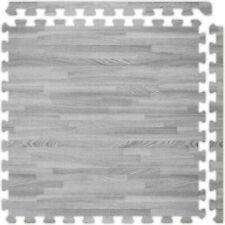 Grey Wooden Mat Yoga Exercise Fitness Gymnastics Interlocking Soft Foam Floor