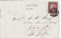 1844 QV BIRMINGHAM MX MALTESE CROSS ON LETTER WITH A 4 MARG 1d PENNY RED STAMP