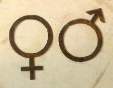 "Lot of 2 Man Woman Male Female Logo Emblem 3"" Shape Rusty Metal Vintage Craft"