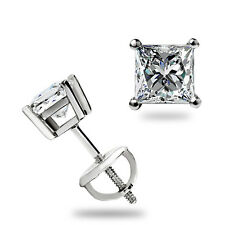1.10 Ct Princess Cut Stud Earrings Lab D Excellent Screwback Real 14k White Gold