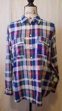 Gap Sz S Blue Red White Purple Plaid Long Sleeve Button Down Top Shirt