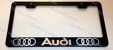 """AUDI"" LASER Style Black Stainless Steel License Plate Frame W/ Bolt Caps"