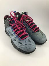 PAIR OF YOUTH SIZE 6 GRAY & BLACK WITH PINK LACES AIR JORDAN BASKETBALL SHOES