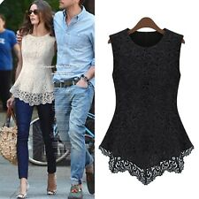 sleeveless Top Casual Summer Fashion Hippie lace Womens Ladies Blouse Shirt Size