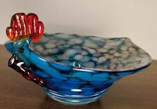 Rooster Chicken Art Glass Candy Dish / Bowl EXCELLENT PREOWNED CONDITION