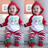 Infant Baby Girl Clothes Set Floral Hoodie Tops+Pants Christmas Outfits Set